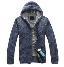 www.mensswaggerapparel.com Quick shipping low prices men's sweaters Autumn Thick Hooded Sweaters Cardigan Blue