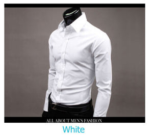 www.mensswaggerapparel.com Quick shipping low prices men's button down shirt British Style Long Sleeve Male Slim Casual Shirts Men's Business Shirt White