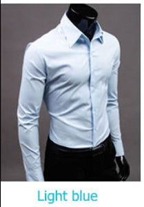www.mensswaggerapparel.com Quick shipping low prices men's button down shirt British Style Long Sleeve Male Slim Casual Shirts Men's Business Shirt light Blue