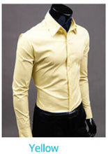 www.mensswaggerapparel.com Quick shipping low prices men's button down shirt British Style Long Sleeve Male Slim Casual Shirts Men's Business Shirt Yellow