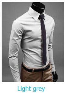 www.mensswaggerapparel.com Quick shipping low prices men's button down shirt British Style Long Sleeve Male Slim Casual Shirts Men's Business Shirt Light Gray