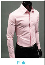 www.mensswaggerapparel.com Quick shipping low prices men's button down shirt British Style Long Sleeve Male Slim Casual Shirts Men's Business Shirt Pink