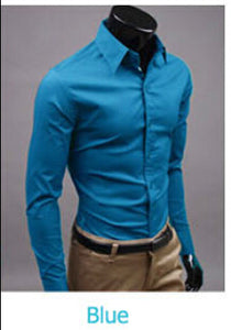 www.mensswaggerapparel.com Quick shipping low prices men's button down shirt British Style Long Sleeve Male Slim Casual Shirts Men's Business Shirt Blue