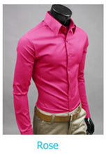 www.mensswaggerapparel.com Quick shipping low prices men's button down shirt British Style Long Sleeve Male Slim Casual Shirts Men's Business Shirt Rose