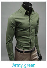 www.mensswaggerapparel.com Quick shipping low prices men's button down shirt British Style Long Sleeve Male Slim Casual Shirts Men's Business Shirt Army Green