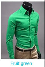 www.mensswaggerapparel.com Quick shipping low prices men's button down shirt British Style Long Sleeve Male Slim Casual Shirts Men's Business Shirt Fruit Green