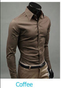 www.mensswaggerapparel.com Quick shipping low prices men's button down shirt British Style Long Sleeve Male Slim Casual Shirts Men's Business Shirt Coffe