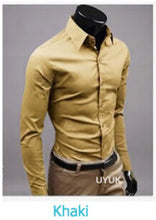 www.mensswaggerapparel.com Quick shipping low prices men's button down shirt British Style Long Sleeve Male Slim Casual Shirts Men's Business Shirt Khaki