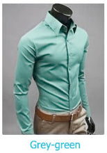 www.mensswaggerapparel.com Quick shipping low prices men's button down shirt British Style Long Sleeve Male Slim Casual Shirts Men's Business Shirt Grey Green