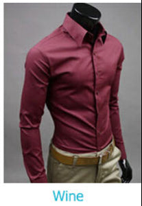 www.mensswaggerapparel.com Quick shipping low prices men's button down shirt British Style Long Sleeve Male Slim Casual Shirts Men's Business Shirt Wine Red