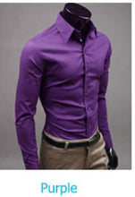 www.mensswaggerapparel.com Quick shipping low prices men's button down shirt British Style Long Sleeve Male Slim Casual Shirts Men's Business Shirt Purple