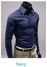 www.mensswaggerapparel.com Quick shipping low prices men's button down shirt British Style Long Sleeve Male Slim Casual Shirts Men's Business Shirt Navy Blue