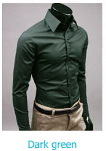 www.mensswaggerapparel.com Quick shipping low prices men's button down shirt British Style Long Sleeve Male Slim Casual Shirts Men's Business Shirt Dark Green