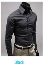 www.mensswaggerapparel.com Quick shipping low prices men's button down shirt British Style Long Sleeve Male Slim Casual Shirts Men's Business Shirt Black