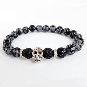 www.mensswaggerapparel.com Quick shipping low prices Men's Watches & Accessories Jewelry Men Skull Bracelet Snowflake Obsidian Beads Antique Silver Color Skeleton Yoga Energy Bracelets