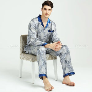 www.mensswaggerapparel.com Quick shipping low prices men's Gifts & Gadgets Mens Silk Satin Pajamas Set   M,L,XL,XXL,3XL
