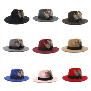 www.mensswaggerapparel.com Quick shipping low prices men's Hat's 100% Wool Women Men Wide Brim Winter Felt Trilby Fedora Hat With Feather Band Cashmere  Church Hat