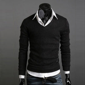 www.mensswaggerapperal.com Quick shipping low prices men's sweaters Thick Plush Wool California V-neck Sweater Black