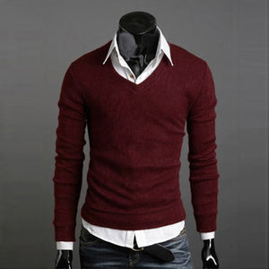 www.mensswaggerapperal.com Quick shipping low prices men's sweaters Thick Plush Wool California V-neck Sweater Red