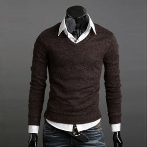 www.mensswaggerapperal.com Quick shipping low prices men's sweaters Thick Plush Wool California V-neck Sweater Coffee