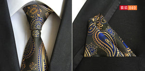 www.mensswaggerapparel.com Quick shipping low prices men's ties & bow ties Tie Set Silk Paisley Mens Tie with Pocket Square Jacquard Woven Ties For Men Gravata Wedding 8cm Neckties Set