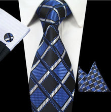 www.mensswaggerapparel.com Quick shipping low prices men's ties & bow ties Plaid Tie Set 100% Silk Jacquard Men Necktie Gravata Hanky Cufflinks Set Pocket Square Mens Tie for Wedding