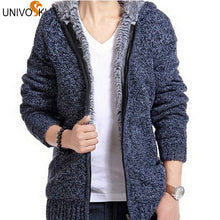 www.mensswaggerapparel.com Quick shipping low prices men's sweaters Cardigan Outwear Winter Thick Hooded Warm Knitwear Jacket Blue