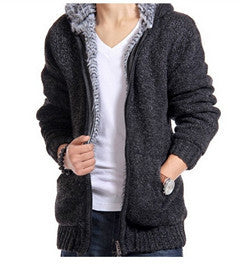 www.mensswaggerapparel.com Quick shipping low prices men's sweaters Cardigan Outwear Winter Thick Hooded Warm Knitwear Jacket Deep Gray