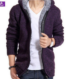 www.mensswaggerapparel.com Quick shipping low prices men's sweaters Cardigan Outwear Winter Thick Hooded Warm Knitwear Jacket Purple