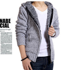 www.mensswaggerapparel.com Quick shipping low prices men's sweaters Cardigan Outwear Winter Thick Hooded Warm Knitwear Jacket Light Gray