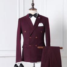 www.mensswaggerapparel.com Quick shipping low prices men's suits & suit jackets Double Breasted striped casual 2 PCS Jacket+Pants suits men,men's Wine Business suits M-2XL
