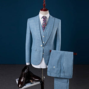 www.mensswaggerapparel.com Quick shipping low prices men's suits & suit jackets Linen Men's suits 3 Pieces Jackets+Vest+Pants wedding suit for men plus size S-4XL