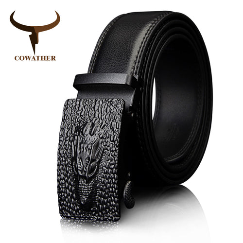 www.mensswaggerapparel.com Quick shipping low prices men's leather belts  crocodile Buckle with Automatic Ratchet Black