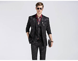 www.mensswaggerapparel.com Quick shipping low prices men's suits & suit Gwenhwyfar Suit Printed Paisley Floral Black Blue Tuxedo Stage 3 PCS Sets Slim Fit Male Suit With Pants M-3XL