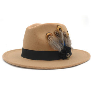 www.mensswaggerapparel.com Quick shipping low prices men's Hat's 100% Wool Women Men Wide Brim Winter Felt Trilby Fedora Hat With Feather Band Cashmere  Church Hat Khaki