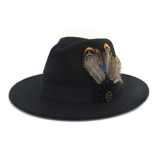 www.mensswaggerapparel.com Quick shipping low prices men's Hat's 100% Wool Women Men Wide Brim Winter Felt Trilby Fedora Hat With Feather Band Cashmere  Church Hat Black
