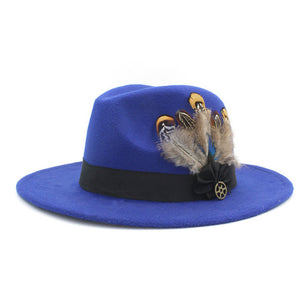 www.mensswaggerapparel.com Quick shipping low prices men's Hat's 100% Wool Women Men Wide Brim Winter Felt Trilby Fedora Hat With Feather Band Cashmere  Church Hat Blue