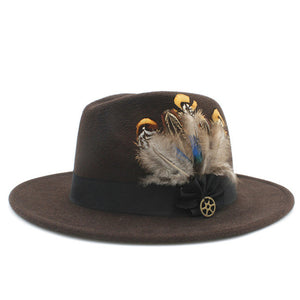 www.mensswaggerapparel.com Quick shipping low prices men's Hat's 100% Wool Women Men Wide Brim Winter Felt Trilby Fedora Hat With Feather Band Cashmere  Church Hat Coffee