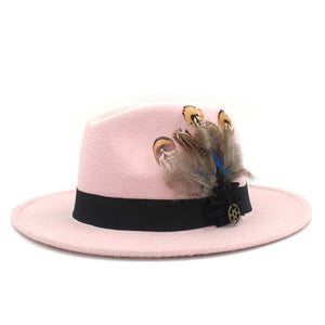 www.mensswaggerapparel.com Quick shipping low prices men's Hat's 100% Wool Women Men Wide Brim Winter Felt Trilby Fedora Hat With Feather Band Cashmere  Church Hat Pink