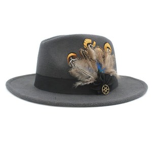www.mensswaggerapparel.com Quick shipping low prices men's Hat's 100% Wool Women Men Wide Brim Winter Felt Trilby Fedora Hat With Feather Band Cashmere  Church Hat Dark Grey