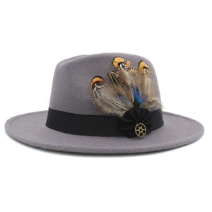 www.mensswaggerapparel.com Quick shipping low prices men's Hat's 100% Wool Women Men Wide Brim Winter Felt Trilby Fedora Hat With Feather Band Cashmere  Church Hat Light Grey
