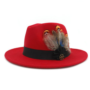 www.mensswaggerapparel.com Quick shipping low prices men's Hat's 100% Wool Women Men Wide Brim Winter Felt Trilby Fedora Hat With Feather Band Cashmere  Church Hat Red