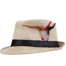 www.mensswaggerapparel.com Quick shipping low prices men's Hat's Trendy  feathers Fedora Trilbyomen Hat Men Khaki