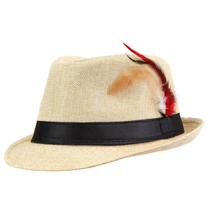 www.mensswaggerapparel.com Quick shipping low prices men's Hat's Trendy  feathers Fedora Trilbyomen Hat Men Beige
