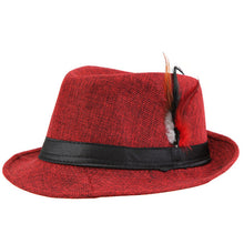 www.mensswaggerapparel.com Quick shipping low prices men's Hat's Trendy  feathers Fedora Trilbyomen Hat Men Red