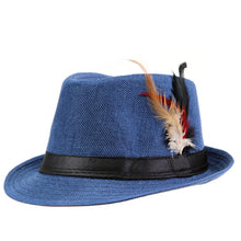 www.mensswaggerapparel.com Quick shipping low prices men's Hat's Trendy  feathers Fedora Trilbyomen Hat Men Blue