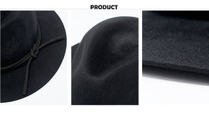 www.mensswaggerapparel.com Quick shipping low prices men's Hat's  Jazz Hats Men Black Large Brim Felt Panama Hat For Women High-Quality Autumn Winter Fedoras