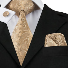 www.mensswaggerapparel.com Quick shipping low prices men's ties & bow ties Burlywood Floral Tie Hanky Cufflinks Sets Men's 100% Silk Ties for men Formal Wedding Party Groom