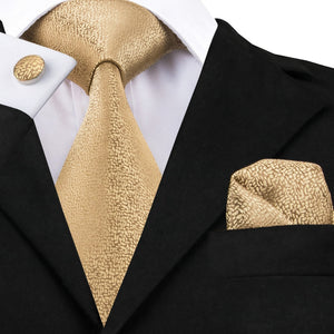 MSA Signature Golden Solid Tie Hanky Cufflinks Sets Men's Long Last Silk Ties for Formal Wedding Party