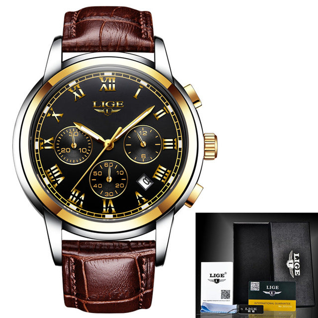 www.mensswaggerapparel.com Quick shipping low prices Men's Watches & Accessories LIGE Mens Watches Top Brand Luxury Leather Casual Quartz Watch Men Military Sports Waterproof Clock Gold Watch Relogio Masculino